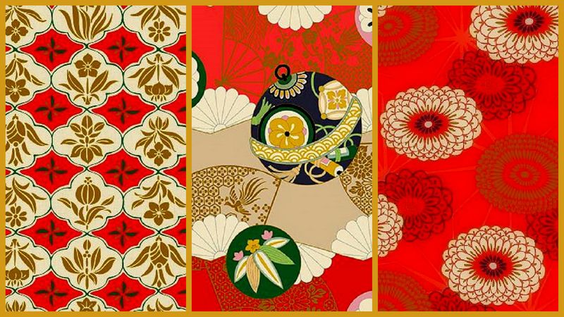 Cotton Quilt Fabric 3 Yard Medley Asian Hyakka Ryoran Modern Movement Red - product images  of