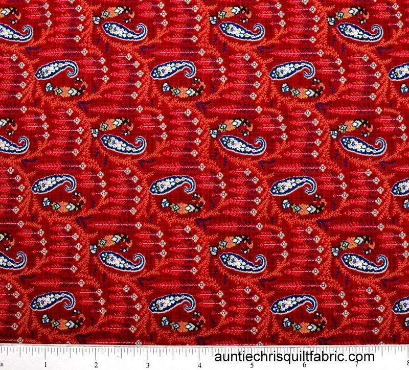 Cotton Quilt Fabric HENRY GLASS WHISPERS OF WISDOM PAISLEY RED - product images  of