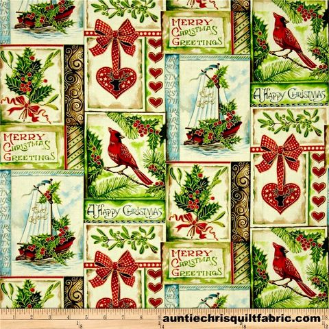 Cotton,Quilt,Fabric,A,Happy,Christmas,Patch,Ecru,Cardinals,Holly,,quilt backing, dresses, quilt fabric,cotton material,auntie chris quilt,sewing,crafts,quilting,online fabric,sale fabric