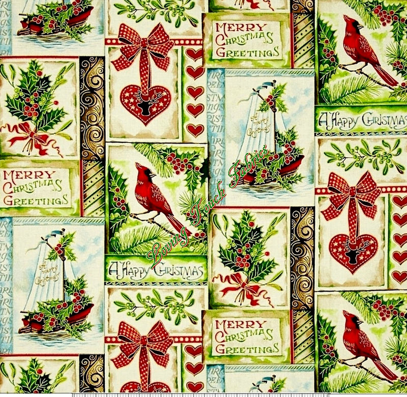 Cotton Quilt Fabric A Happy Christmas Patch Ecru Cardinals Holly - product images  of