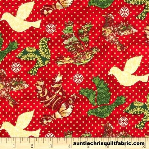 Cotton,Quilt,Fabric,Christmas,Peace,on,Earth,Doves,Dots,Red,Birds,,quilt backing, dresses, quilt fabric,cotton material,auntie chris quilt,sewing,crafts,quilting,online fabric,sale fabric