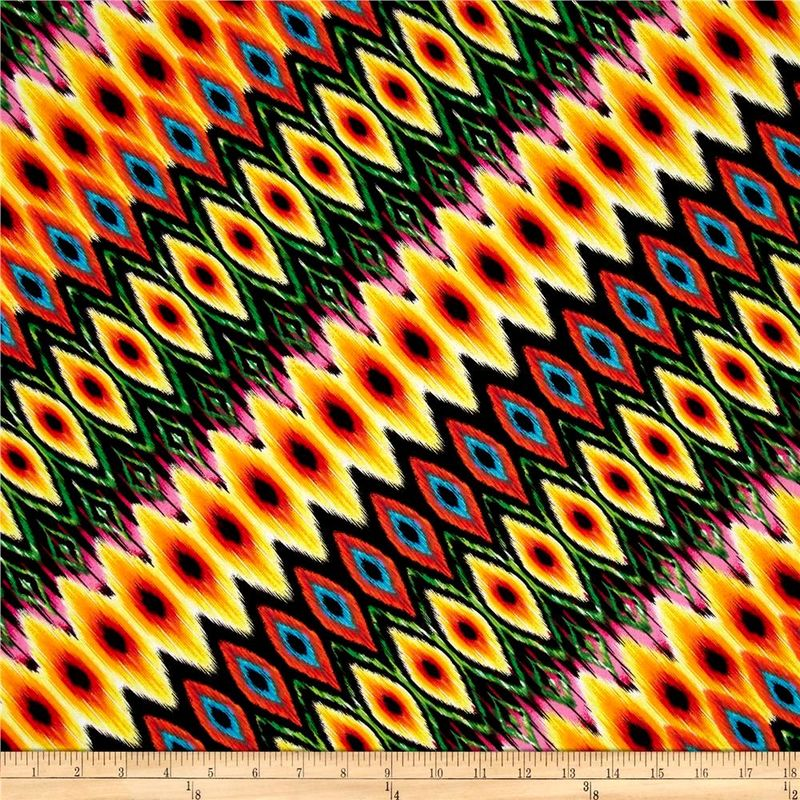 Cotton Quilt Fabric Kanvas Fiesta Diagonal Stripe Multi Ikat - product images  of