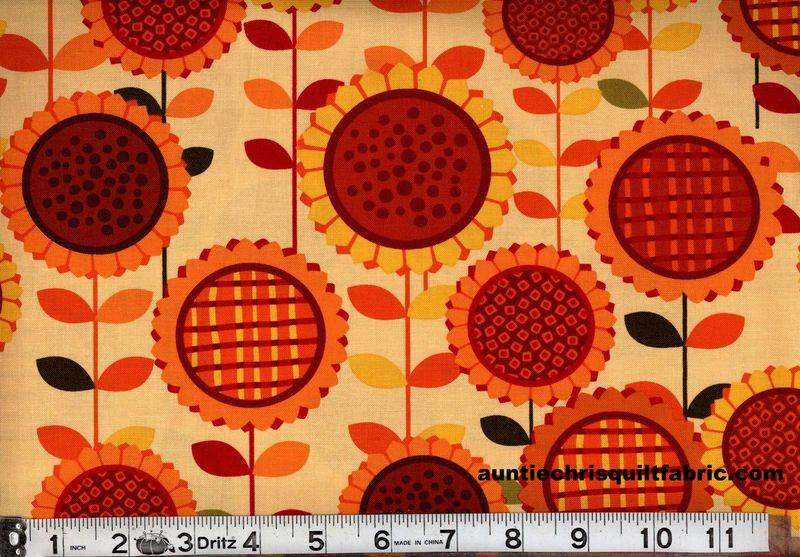 Cotton Quilt Fabric Sunflower Daze Sunflower Fields Gold Autumn Floral - product images  of