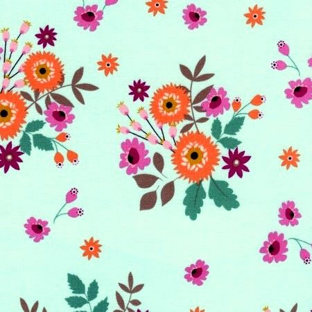 Cotton Quilt Fabric Felicity Spaced Bouquets Mint Timeless Treasures - product images  of