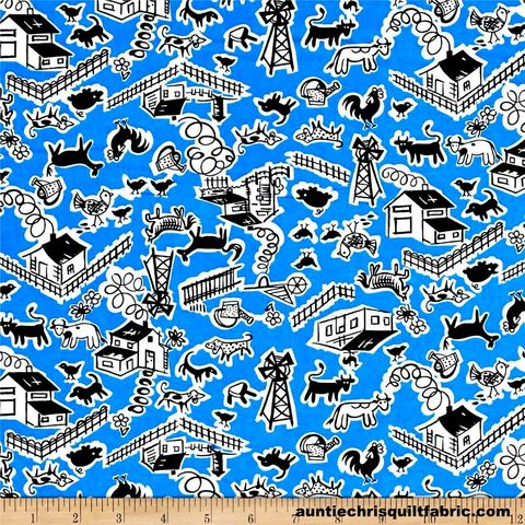Cotton,Quilt,Fabric,Thirties,Reproduction,Barnyard,Blue,,quilt backing, dresses, quilt fabric,cotton material,auntie chris quilt,sewing,crafts,quilting,online fabric,sale fabric