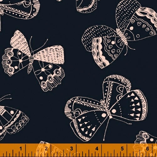 Cotton Quilt Fabric Whisper Butterflies Navy Nature Print - product images  of