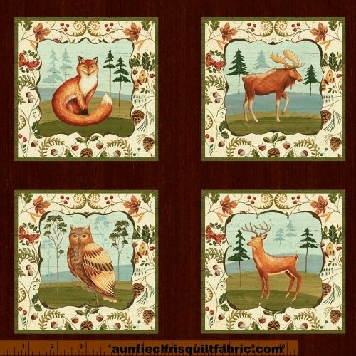 Cotton Quilt Fabric Wild Woods Panel Animal Nature Folk Art - product images  of