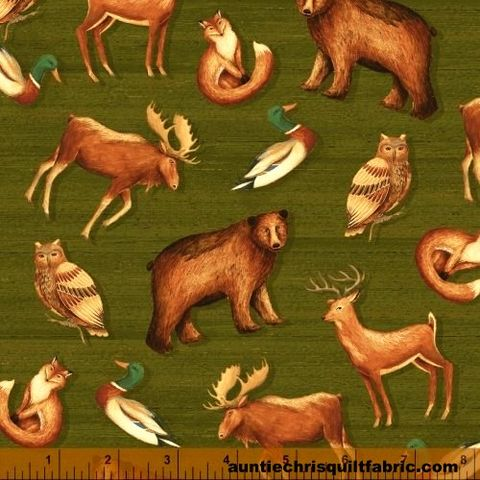 Cotton,Quilt,Fabric,Wild,Woods,Tossed,Animals,Moose,Deer,Bear,,quilt backing, dresses, quilt fabric,cotton material,auntie chris quilt,sewing,crafts,quilting,online fabric,sale fabric