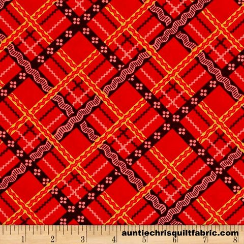 Cotton,Quilt,Fabric,Peaceful,Gathering,Bias,Ribbon,Plaid,Red,,quilt backing, dresses, quilt fabric,cotton material,auntie chris quilt,sewing,crafts,quilting,online fabric,sale fabric
