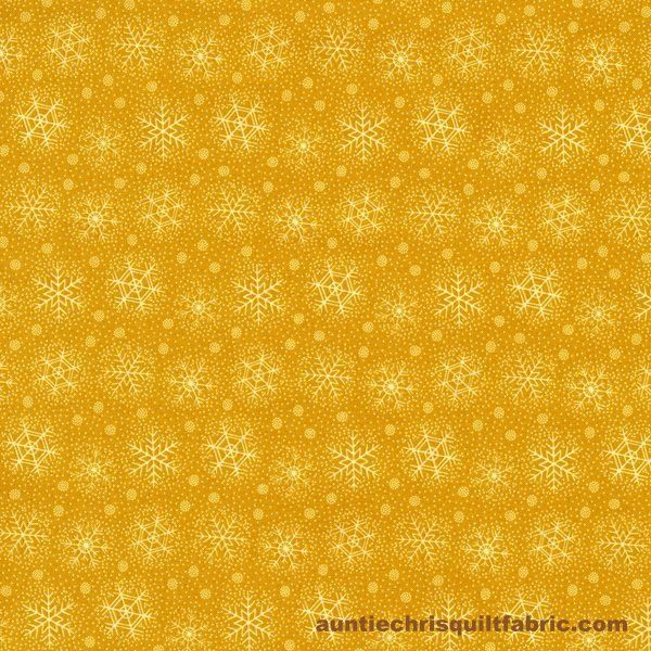 Cotton Quilt Fabric Christmas Remembered Gold SnowflakesYellow - product image