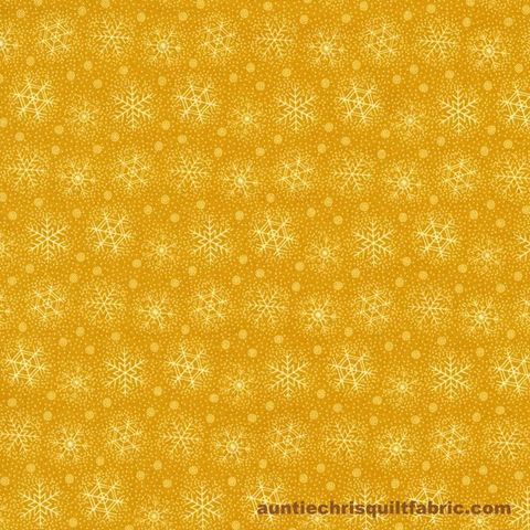 Cotton,Quilt,Fabric,Christmas,Remembered,Gold,SnowflakesYellow,,quilt backing, dresses, quilt fabric,cotton material,auntie chris quilt,sewing,crafts,quilting,online fabric,sale fabric