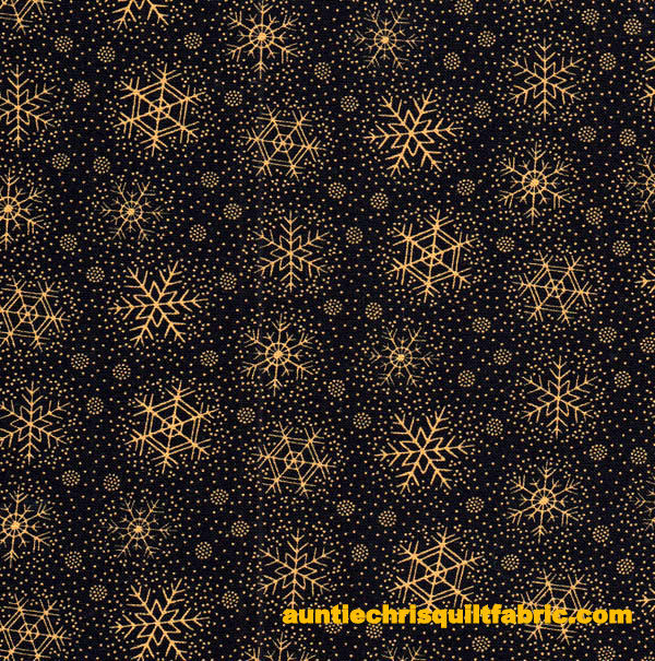 Cotton Quilt Fabric Christmas Remembered Snowflakes Black Gold - product images  of