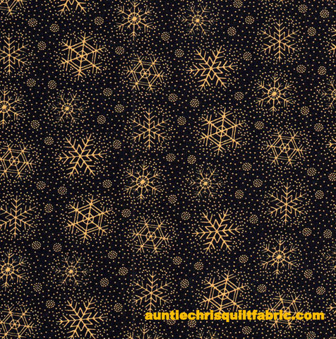 Cotton,Quilt,Fabric,Christmas,Remembered,Snowflakes,Black,Gold,,quilt backing, dresses, quilt fabric,cotton material,auntie chris quilt,sewing,crafts,quilting,online fabric,sale fabric