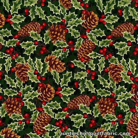 Cotton,Quilt,Fabric,Christmas,Remembered,Green,Pine,Cones,,quilt backing, dresses, quilt fabric,cotton material,auntie chris quilt,sewing,crafts,quilting,online fabric,sale fabric