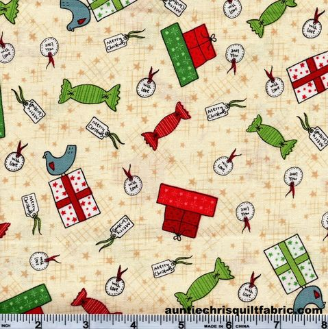 Cotton,Quilt,Fabric,Christmas,Festive,Fun,Gift,Wrap,Cream,2779,,quilt backing, dresses, quilt fabric,cotton material,auntie chris quilt,sewing,crafts,quilting,online fabric,sale fabric
