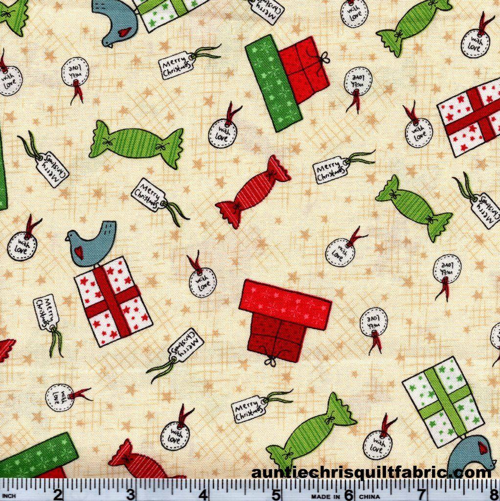 Cotton quilt fabric christmas festive fun gift wrap cream