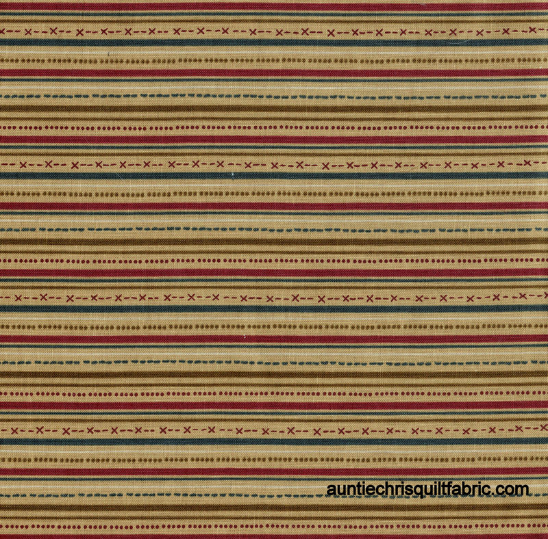 Cotton Quilt Fabric Highland Country Christmas Stripe Tan - product image
