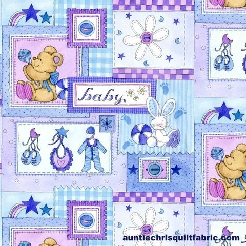 Cotton,Quilt,Fabric,Baby,Patchwork,On,Blue,AE,Nathan,0221,,quilt backing, dresses, quilt fabric,cotton material,auntie chris quilt,sewing,crafts,quilting,online fabric,sale fabric