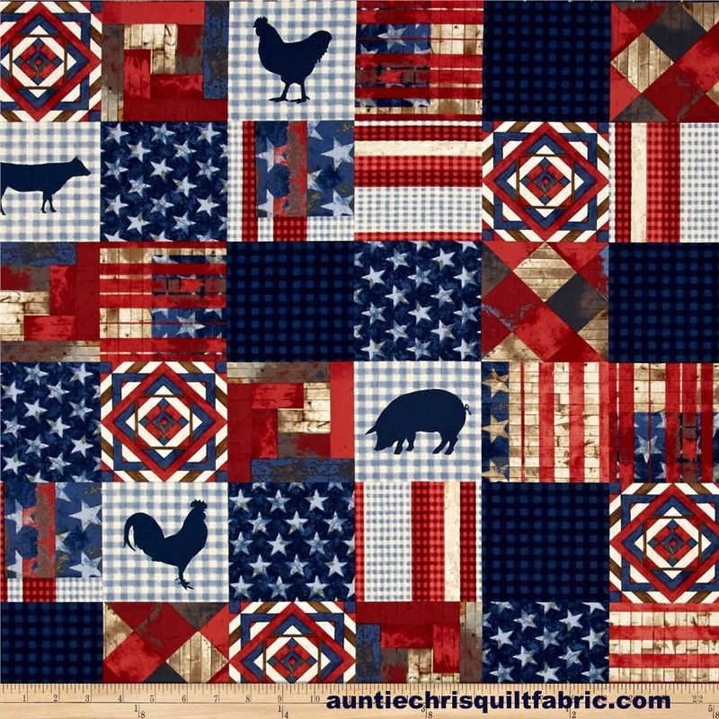Cotton Quilt Fabric 4th On The Farm Patchwork Quilt