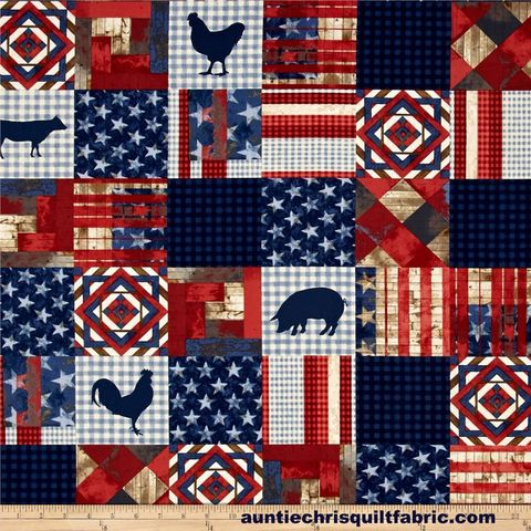 Cotton,Quilt,Fabric,4th,on,the,Farm,Patchwork,Americana,,quilt backing, dresses, quilt fabric,cotton material,auntie chris quilt,sewing,crafts,quilting,online fabric,sale fabric