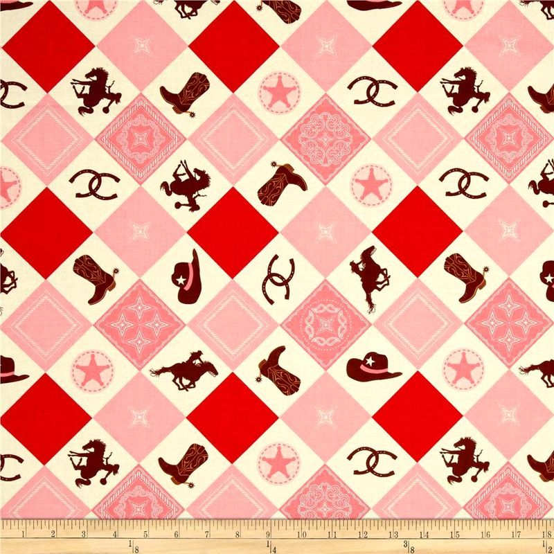 Cotton Quilt Fabric Riley Blake Cowgirl Main Boots Horses Western Pink  - product images  of
