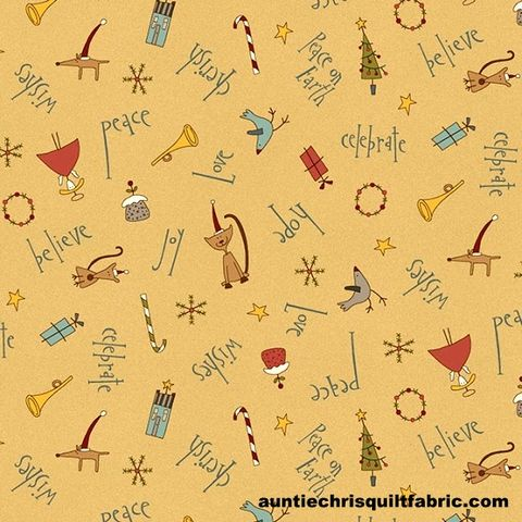 Cotton,Quilt,Fabric,Peace,on,Earth,Christmas,Wishes,Tan,Multi,,quilt backing, dresses, quilt fabric,cotton material,auntie chris quilt,sewing,crafts,quilting,online fabric,sale fabric