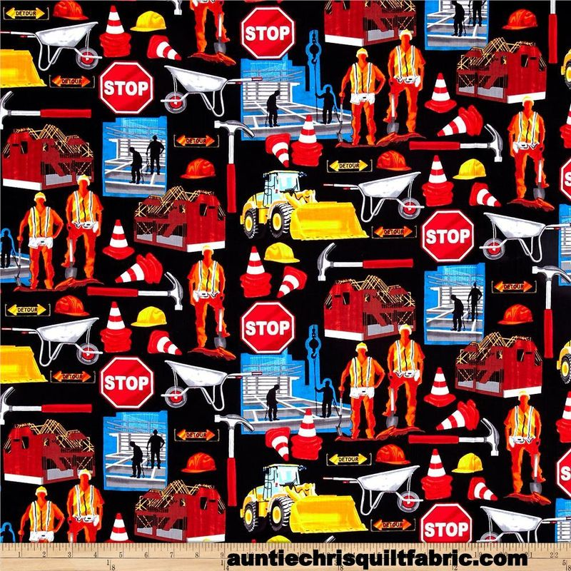 Cotton Quilt Fabric Man Cave Men at Work Construction Workers Black - product images  of
