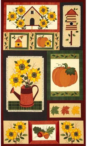 Cotton,Quilt,Fabric,Panel,Harvest,Song,Fall,Autumn,Pumpkin,Sunflowers,,quilt backing, dresses, quilt fabric,cotton material,auntie chris quilt,sewing,crafts,quilting,online fabric,sale fabric