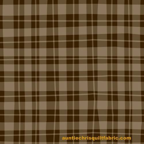 Cotton Quilt Fabric Naughty Puppies Brown Tan Wavy Check - product images  of