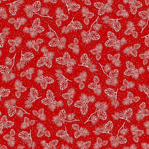 Cotton,Quilt,Fabric,Christmas,Winter,Wonderland,Pine,Cones,RED,White,,quilt backing, dresses, quilt fabric,cotton material,auntie chris quilt,sewing,crafts,quilting,online fabric,sale fabric