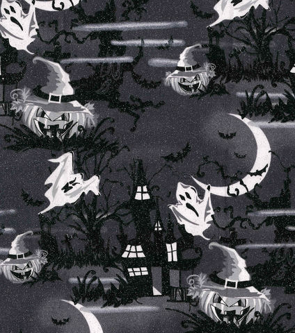 Cotton,Quilt,Fabric,Halloween,Haunted,House,Glitter,Black,White,,quilt backing, dresses, quilt fabric,cotton material,auntie chris quilt,sewing,crafts,quilting,online fabric,sale fabric