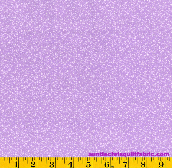 Cotton Quilt Fabric Traditions Lavender Heart Vines - product image
