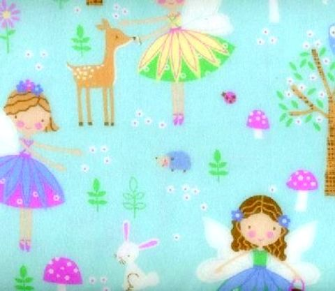 Cotton,Flannel,Quilt,Fabric,Snuggle,Woodland,Fairies,Blue,,quilt backing, dresses, quilt fabric,cotton material,auntie chris quilt,sewing,crafts,quilting,online fabric,sale fabric