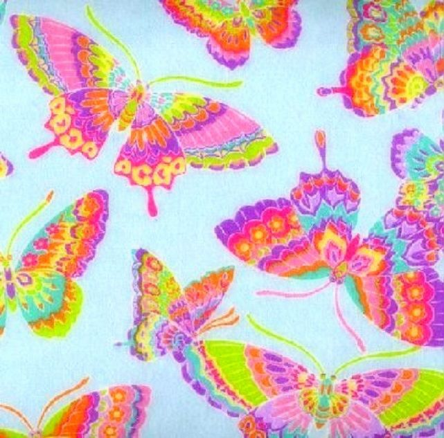 Cotton Flannel Quilt Fabric Snuggle Colorful Butterflies Blue - product images  of