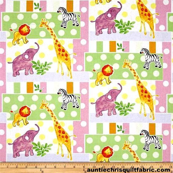 Cotton quilt fabric nursery safari baby patch elephant for Nursery cotton fabric