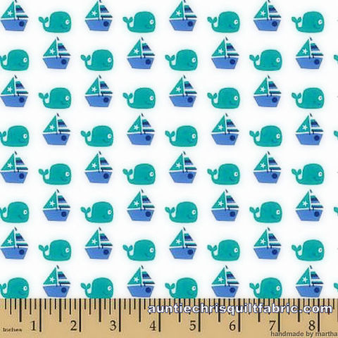 Cotton,Quilt,Fabric,Nursery,Seawater,Friends,Sailing,Whales,Sailboats,,quilt backing, dresses, quilt fabric,cotton material,auntie chris quilt,sewing,crafts,quilting,online fabric,sale fabric