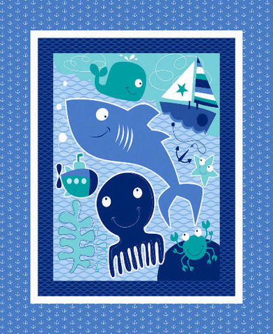 Panel,Plus,Kit,Nursery,Seawater,Friends,Sailing,Whales,Sailboats,,quilt backing, dresses, quilt fabric,cotton material,auntie chris quilt,sewing,crafts,quilting,online fabric,sale fabric