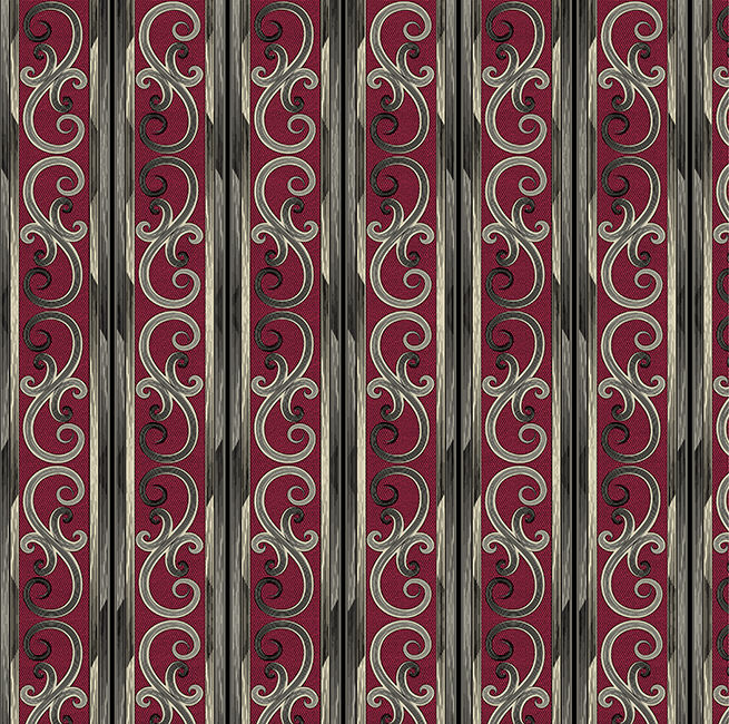 Cotton Quilt Fabric Juliette Gothic Scroll Stripe Dk Red  - product image