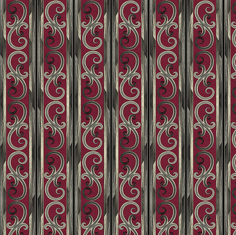 Cotton,Quilt,Fabric,Juliette,Gothic,Scroll,Stripe,Dk,Red,,quilt backing, dresses, quilt fabric,cotton material,auntie chris quilt,sewing,crafts,quilting,online fabric,sale fabric