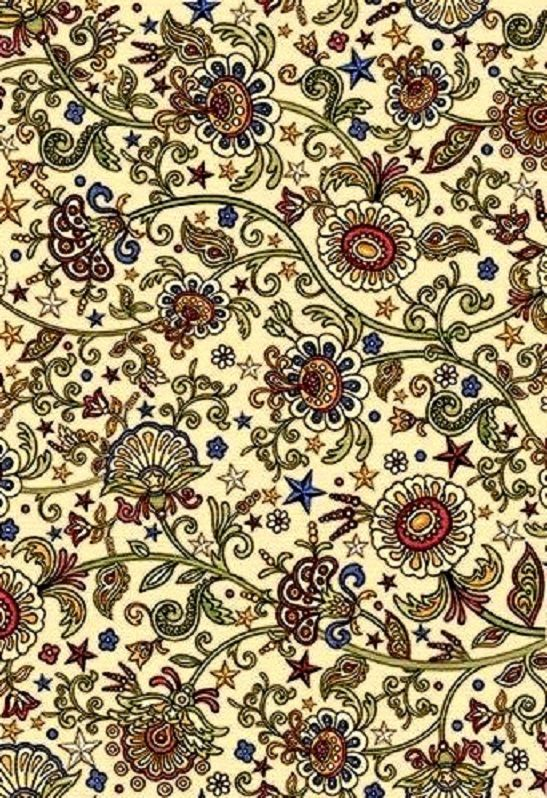 Cotton Quilt Fabric For the Love of Country Ecru Multi Floral - product images  of
