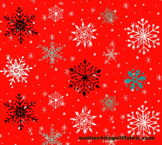 Cotton Quilt Fabric Christmas Polar Bear Pirouette Snowflakes Red White - product images  of