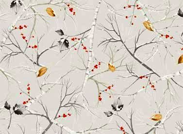 Cotton Quilt Fabric Red Rooster Cozy Cabin Christmas Twigs Leaves - product images  of