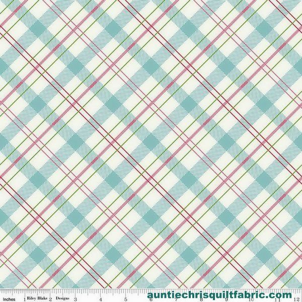 Cotton Quilt Fabric Riley Blake Enchanted Bias Plaid Mint Pink - product images  of