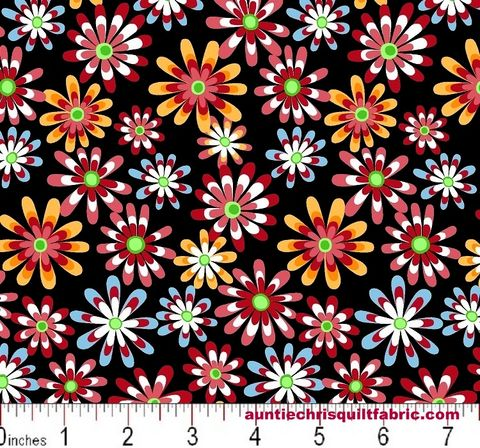 Cotton,Quilt,Fabric,Flower,Power,Ditsy,Daisy,Black,Multi,,quilt backing, dresses, quilt fabric,cotton material,auntie chris quilt,sewing,crafts,quilting,online fabric,sale fabric
