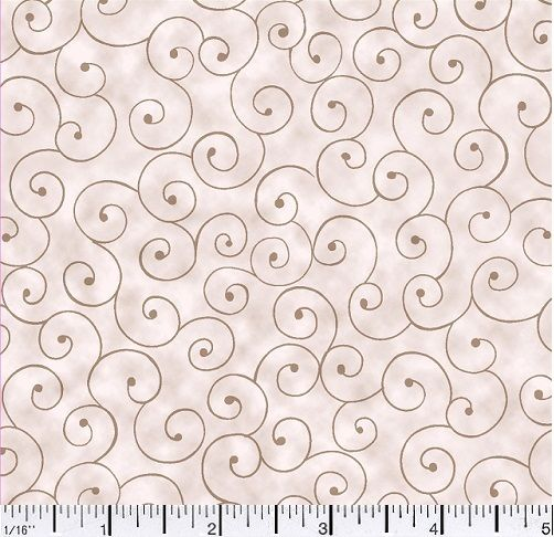 Cotton Quilt Fabric Tilt A Whirl Swirly Tone On Tone Tan  Neutral - product images  of