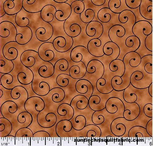 Cotton Quilt Fabric Tilt A Whirl Swirly Tone On Tone Brown - product images  of