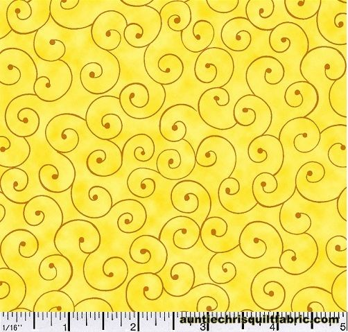 Cotton Quilt Fabric Tilt A Whirl Swirly Tone On Tone Yellow - product images  of