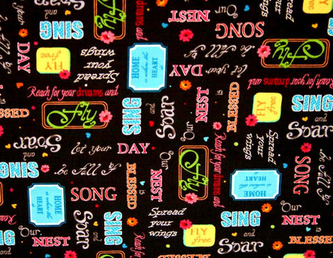 Cotton,Quilt,Fabric,Blessed,Inspirational,Words,Black,Multi,,quilt backing, dresses, quilt fabric,cotton material,auntie chris quilt,sewing,crafts,quilting,online fabric,sale fabric