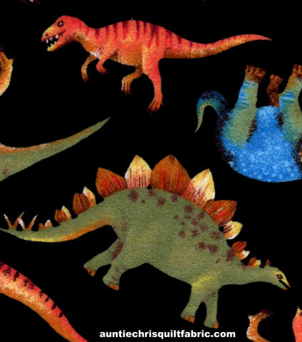 Cotton,Flannel,Quilt,Fabric,Real,Dinos,Black,Multi,T,Rex,Bronto,,quilt backing, dresses, quilt fabric,cotton material,auntie chris quilt,sewing,crafts,quilting,online fabric,sale fabric