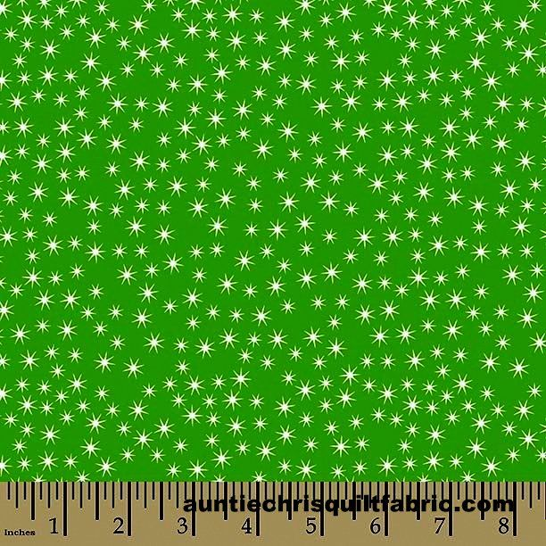 Cotton Quilt Fabric Christmas Cheer Sparkle Green White Stars - product images  of